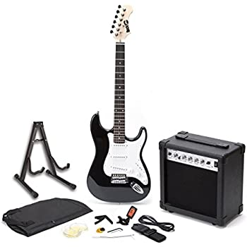RockJam Full Size Electric Guitar Superkit with Amp, Strings, Tuner, Strap, Case and Cable - Black