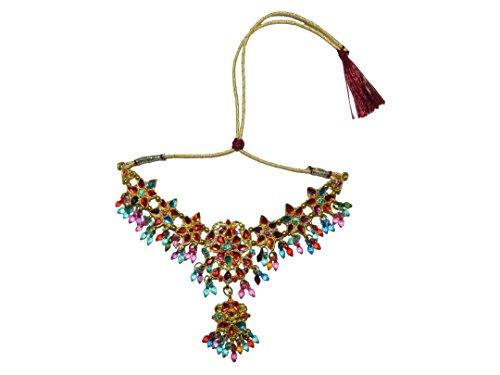 Parure indienne Bollywood ANUSHKA Multicolore doré Collier Tikka Boucles d'oreille et Bracelets Bangles Monture dorée Bijoux indiens de mariage