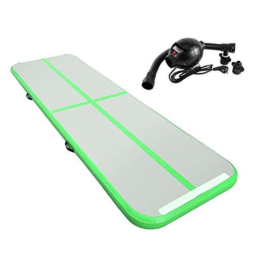 """Aufblasbare Gymnastik AirTrack Tumbling Mat Air Track Luftpolster Fußmatten mit elektrischer Luftpumpe Gebläse für den Heimgebrauch / Training / Cheerleading / Strand / Park und Wasser 3M × 1M × 0,1 M (118 """"× 39"""" × 3,94 """") (grün)"""