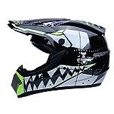 WZFC Crosshelm Motocross Enduro Downhill Helm Motorradhelm Integralhelm (Model-Shark),Black,S
