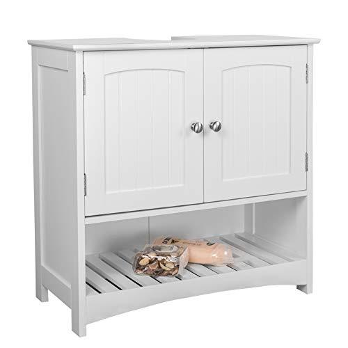 EUGAD Armario Bajo Lavabo Mueble para Debajo de Lavabo Mueble Lavabo de Baño Almacenamiento con 2 Puertas MDF 60 x 30 x 60 cm Blanco 0014WY