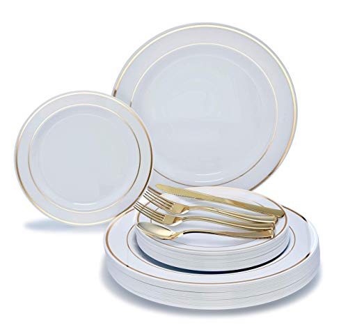 26,7cm + 19,1cm + Besteck 360 pcs (60 guests) White / Gold Rim plates, Gold silverware Rim Plate