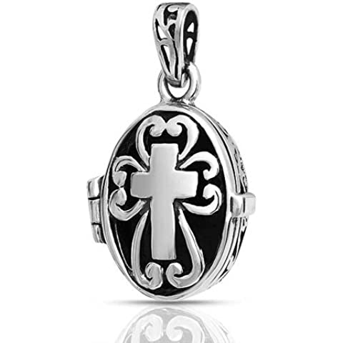 Bling Jewelry Vintage Gothic Box Croce Preghiera Veleno pendente del Locket 925 - Veleno Box Locket