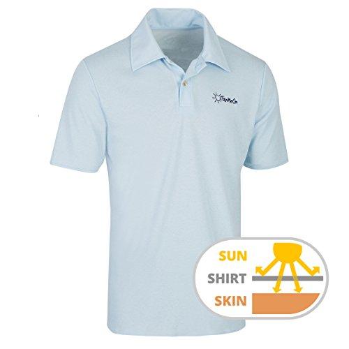 Durchbräunendes Poloshirt für Herren von TanMeOn: Unter dem Poloshirt braun werden, Ideal für Golf, Radsport und Freizeit. Farben: Weiss, blau oder grau, Größen S, M,L, XL, XXL (Blau, XL) (Männer-hockey-jersey)