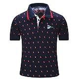Jaminy Herren T-Shirt Sommer Basic Kurzarm-Shirt Top Sweatshirt Sportshirt Sommer Kurzarm Polo T-Shirt Kurzarmshirt Sweatshirt Sportshirt (Dunkelblau, XXL)