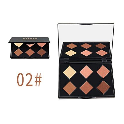 Contour Palette, KISSION Kit de Maquillage Professionnel de Halo Magique 6 Couleurs Crème Contour Highlight Palette (A2)