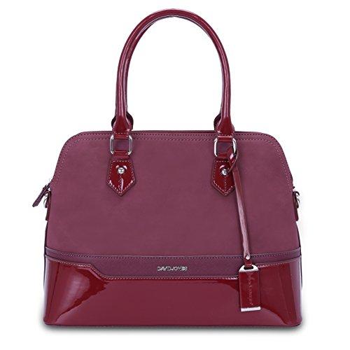 David Jones - Damen Bugatti Handtasche - Frauen Henkeltasche - PU Lackleder Multicolor - Bowling Messenger Tasche - Schultertasche Umhängetasche - Elegante Shopper City Bag - Bordeaux Rot