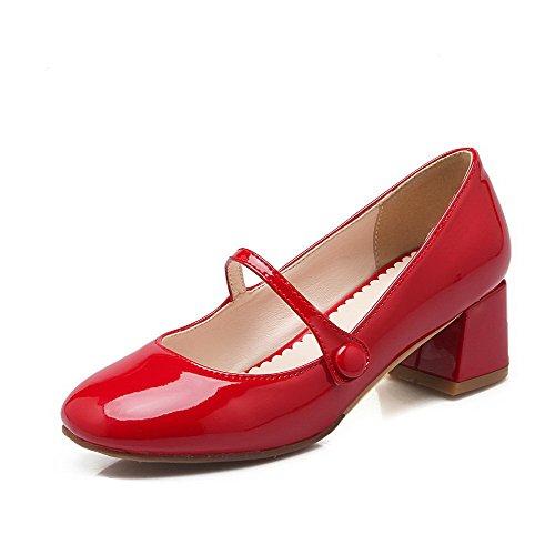 VogueZone009 Femme à Talon Correct Couleur Unie Boucle Verni Carré Chaussures Légeres, Rouge, 37