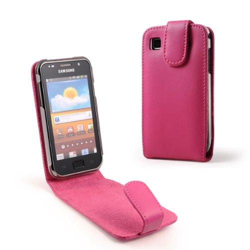 Preisvergleich Produktbild MaryCom Ledertasche PREMIUM QUALITÄT für Samsung Galaxy S i9000 / i-9000 und Samsung Galaxy S Plus i9001 / i-9001 / Mobil Telefon Phone Handy in Pink + Gratis Displayschutzfolie / LTP i9000