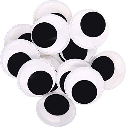 i-mondi® Ojos móviles de 35 mm negros redondos autoadhesivos para manualidades, bricolaje dando vida a sus diseños