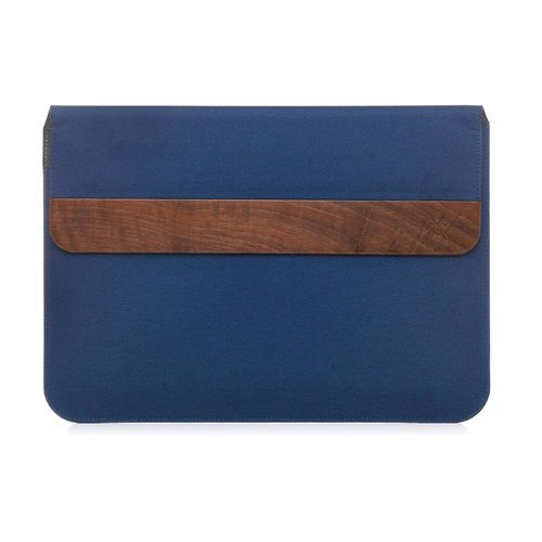 "Woodcessories - EcoPouch - Macbook Tasche - Premium Design Hülle, Notebooktasche, Laptoptasche m. echtem Walnuss Holz (MacBook 11-13""/ Blau)"