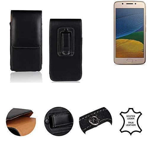 K-S-Trade® Gürtel Tasche Für Lenovo Moto G5 Single-SIM Handy Hülle Gürteltasche Schutzhülle Handy Tasche Schutz Hülle Handytasche Seitentasche Vertikaltasche Etui, Leder Schwarz, 1x