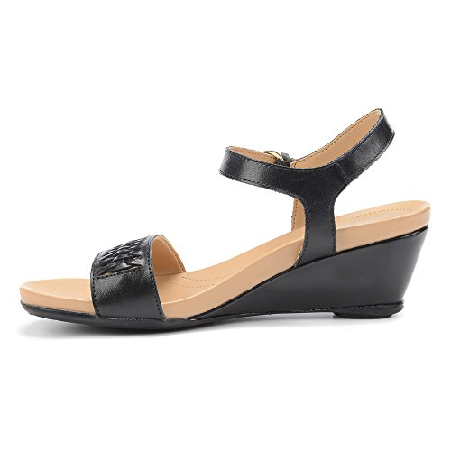 Naturalizer Swiftly Large Cuir Sandales Compensés Black