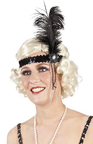 Halloweenia - Damen Haarband mit Pailletten, Feder und Perlen, (Piraten Augenklappe Pailletten)