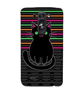 Danger Skull Sharp Cat 3D Hard Polycarbonate Designer Back Case Cover for LG G3 Beat :: LG G3 Vigor :: LG G3s :: LG g3s Dual
