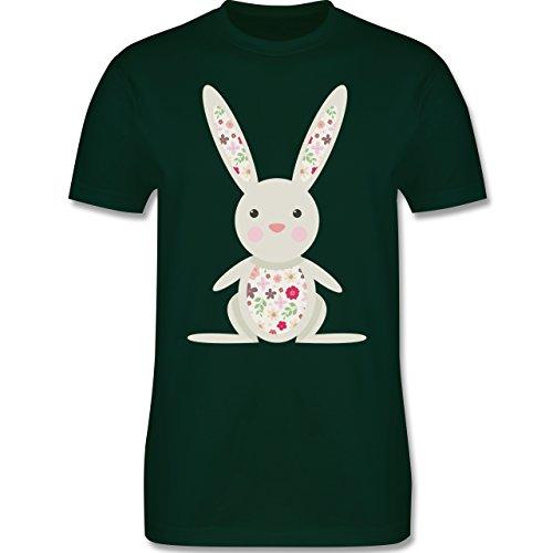 Ostern - Süßer Hase - Frühlingstiere mit Blumen - Herren Premium T-Shirt Dunkelgrün