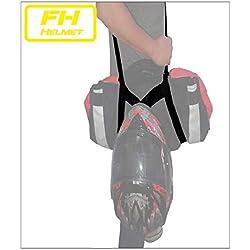 Free Hands Helmet Porta chaqueta y casco. Manos libres moto. Lleva tu chaqueta y tu casco en el bolsillo y las manos libres. 100% poliester con tensor multitalla. Talla adaptable desde 1,35 a 2,10cm.