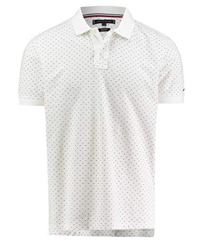 c89c0ced70b Tommy Hilfiger Herren Poloshirt Micro Print Regular Polo Weiß (Bright White  100) Medium (