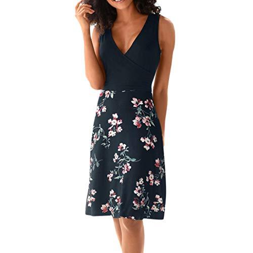 35820053bab AM Clearance Summer Women Sleeveless Beach Dress Printed Floral Short Dress  Black