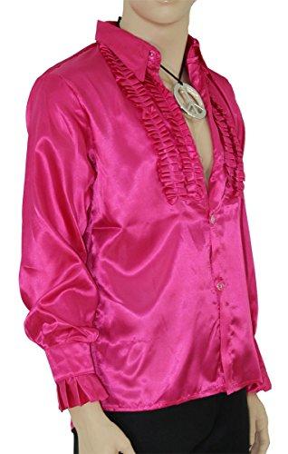 Kostüm Party Motto 70er Jahre - Foxxeo Pinkes Rüschenhemd für Herren 70er Jahre Disco Hemd Fasching Karneval Motto-Party pink, Größe M