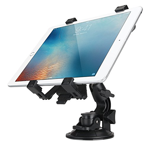 King Shine Car Seat Tablet Holder/Car Windshield Tablet Holder for 7-10 Inches Kindle/iPad (Black) (Tablet Holder with suction cup (4 Lock Arms))