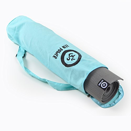 Yoga-Matte mit Tasche, 180 x 60cm - super rutschfest, leicht, Schadstofffrei - für Yoga, Pilates, Turnen, Stretching, Gymnastik - von Zen Power, Yoga Matte: anthrazit - Tasche: mint