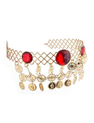 (Funny Fashion Edles Diadem ägyptische Königin Kostümaccessoire Gold-rot Einheitsgröße)