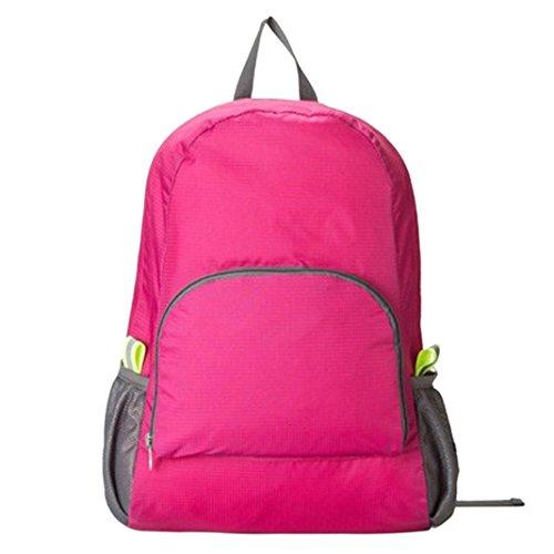 Sasairy Sport Zaino Pieghevole di Nylon Satchel Impermeabile Portatile Multifunzionale per la Corsa di Campeggio Viaggio Alpinismo Randonné Nero Rosa scuro