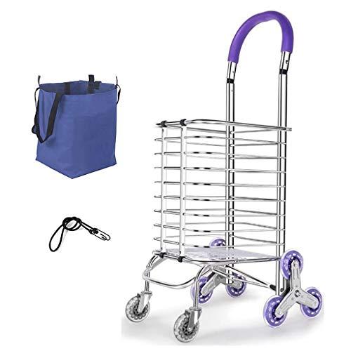 IYHFXVCBD Einkaufswagen Einkaufswagen Einkaufswagen Treppensteigen Aluminiumlegierung mit Sacklast 50 kg Geeignet für ältere Menschen, Frauen Utility Trolley Stair Climber
