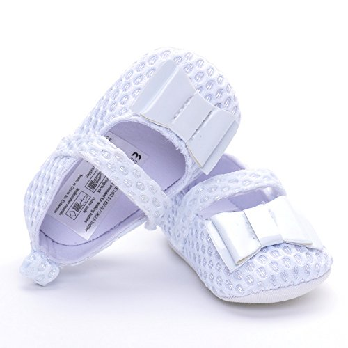 Estamico, Scarpe primi passi bambini, sandali bambina Bianco-1