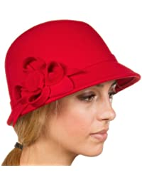 Sakkas Frauen Jahrgang Stil100% Wolle Topfhut Bucket Winter Hut with Ribbon Blume Akzent ( 6 Farben )