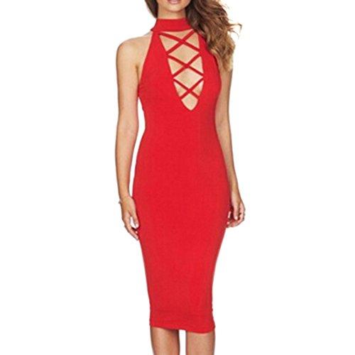 Elegante Damen Stehkragen Brust Complex Querverband Sommerkleid Cocktailkleid Rot