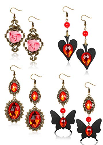 Finrezio 4 Paar Halloween Dangle Ohrringe Set - Packung mit 4 Paar Halloween Kostüm Ohrring für Frauen Mädchen Kinder Ghost Vampire Drop Dangle - Ghost Boy Kind Kostüm