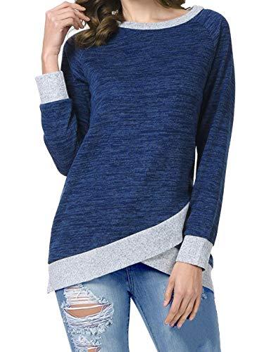 Odosalii Damen Langarm Patchwork Sweatshirt Pullover Casual T-Shirt Asymmetrisch Saum Tunika Tops, XL, Lila Bronze