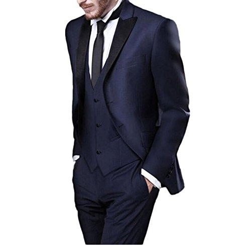 Neue 2-knopf Herren Anzug (Lilis® Herren 2 Knöpfe Navy Herren Anzüge 3 Stück Peak Revers Bräutigam Anzüge Hochzeit Anzüge)