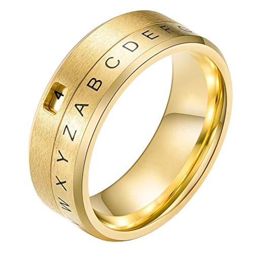 YBMEN 8MM Männer Edelstahl AZ Alphabet Buchstaben und römische Ziffern Dual Spinner Band Ring