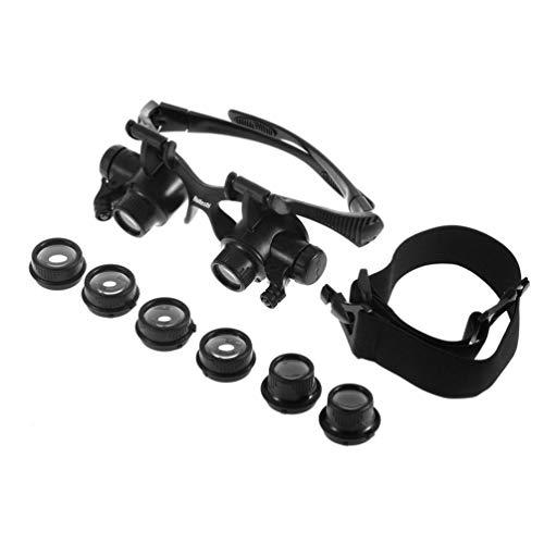 10X 15X 20X 25X LED Brille Juwelier Uhrmacher Lupe Lupe Doppel Brille Lupe Objektiv Messwerkzeuge - Schwarz -