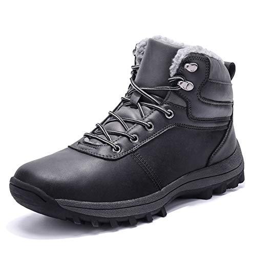 Stivali da Neve Uomo Impermeabile Invernali Scarpe Trekking Scarpe Inverno Pelliccia Caloroso Stivaletti Nero 42
