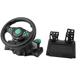 180 degrés de Rotation de Jeu Vibration Volant de Course avec pédales pour Xbox 360 pour PS2 USB Volant de Voiture PS3 PC (Noir et Vert)
