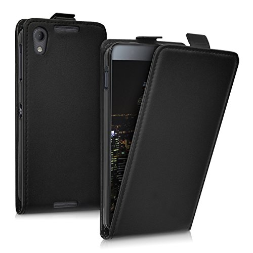 kwmobile Hülle für Blackberry DTEK50 - Flip Case Handy Schutzhülle Kunstleder - Flipcover Cover Schwarz
