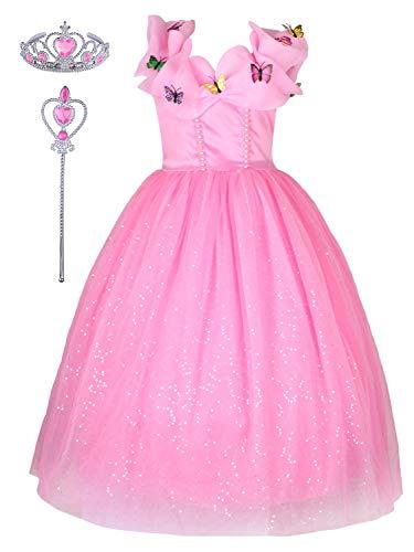 YONIER Costumi Bambina Tulle Diadema Festa Nuziale Rosa Fantasia Principessa Cosplay Costume Carnevale Abito per Bambino Principessa Natale Partito Compleanno Carnevale Abiti Fantasia Vestite