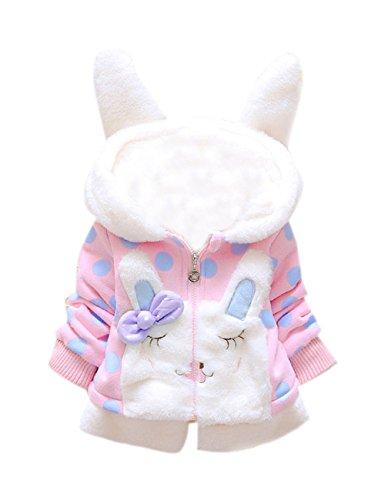 Tkria Baby Mädchen Mäntel -Jacken ,Winter Kinder Kapuzenjacke für Kaninchen Fleecefutter mit Bowknot Mantel für Kinder 2-3 jahre/98 (Kinder Jacke Baby)