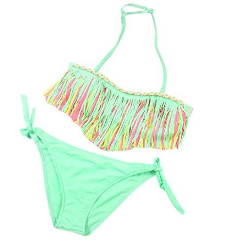 Bekleidung Longra 1SET Baby Mädchen Sommer Bademode Quaste Kinder aufgeteilt Nylon Badeanzüge Bikini Set (3-12 Jahre) (Asian S, Green) (Shorts Floral Nylon)