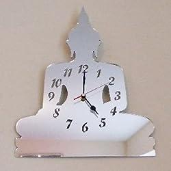 Super Cool Creations 40 x 27cm Acrílico Buda Reloj con espejo,Plata