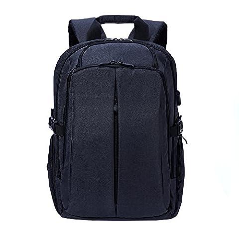 Rucksack Schulrucksack Alltagsrucksack Damen Herren Wasserdicht Daypack mit Laptopfach bis zu 17 zoll für Uni Reisen Campus Business, Schwarz