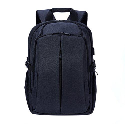 Imagen de  daypack con carga usb pot, casual   portátil bolsa con 17pulgadas negro para la escuela, negocios, viajes negro negro