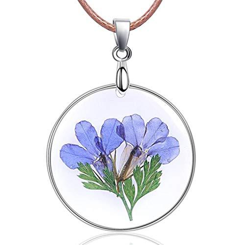 Floridivy Frauen Mädchen natürliche getrocknete Blumen-Anhänger handgemachte Harz-Wachs-Seil-Ketten-Halskette für Geschenke (Getrockneten Gepressten Blumen)