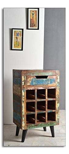 SalesFever Wein-Regal mit 1 Schublade und Ablage für 9 Flaschen aus Altholz 80x120 cm   Amia   Bunte Wein-Kommode im Shabby-Chic Look mit Metallfüßen hergestellt in Handarbeit 80cm x 120cm - Neun Schubladen Kommode
