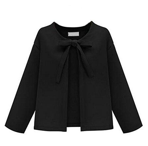 Kerlana Soprabito Donna Manica Lunga Autunno Invernale Puro Colore Camicetta Arco Bello Giacca Cardigan Semplice Elegante Black
