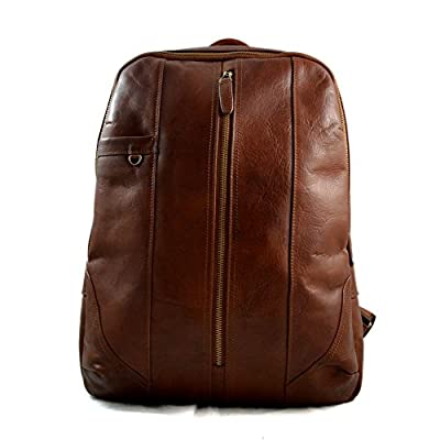 Leather backpack genuine leather brown travel bag weekender sports bag gym bag leather shoulder ladies mens satchel light big backpack - handmade-bags